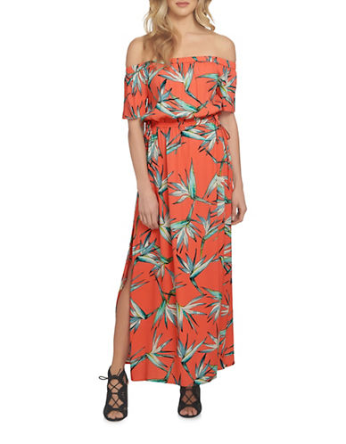 1 State Printed Off-Shoulder Maxi Dress-ORANGE-X-Small