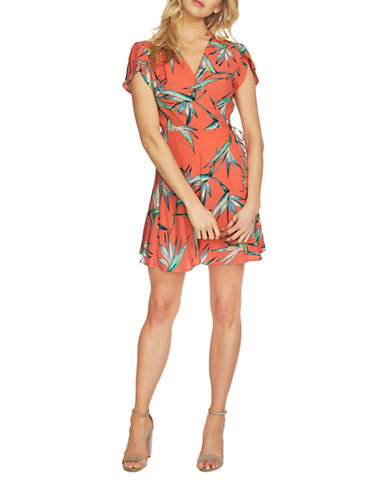 1 State Short Sleeve Wrap Dress-ORANGE-Small