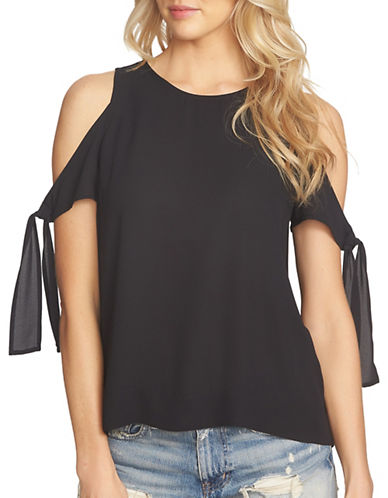 1 State Cold-Shoulder Blouse with Sleeve Ties-BLACK-X-Small