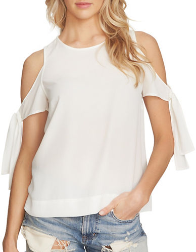 1 State Cold-Shoulder Blouse with Sleeve Ties-WHITE-X-Small
