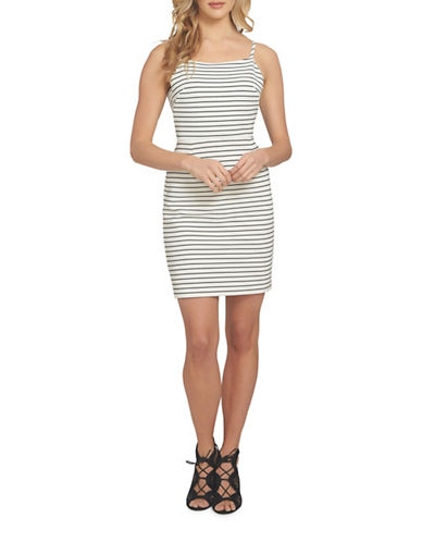 1 State Spaghetti Strap Striped Bodycon Dress-WHITE-Large