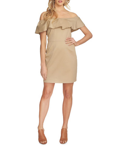 1 State Ruffle Top Sheath Dress-BROWN-4