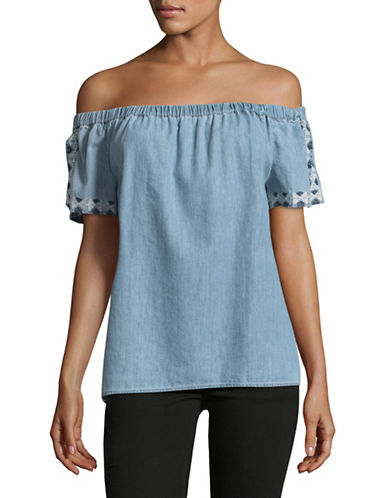 Two By Vince Camuto Embroidered Off-The-Shoulder Top-BLUE-Large