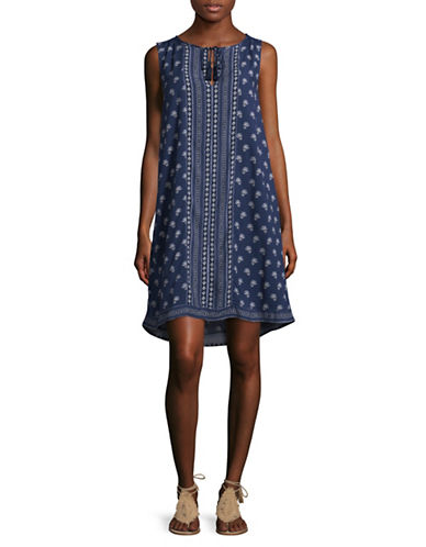 Two By Vince Camuto Paisley Tassel Swing Dress-BLUE MULTI-Small
