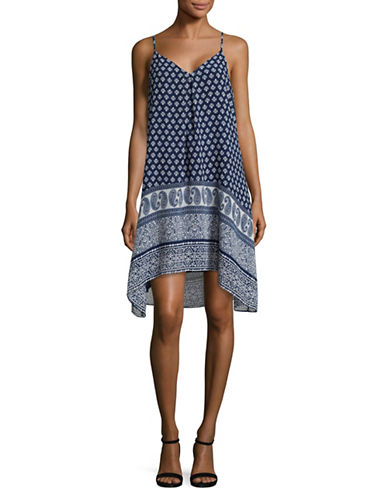 Two By Vince Camuto Paisley Border Handkerchief Slip Dress-BLUE-X-Small