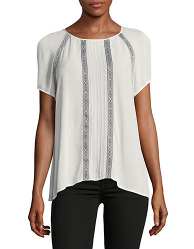 Two By Vince Camuto Cold Shoulder Peasant Top-IVORY-Small