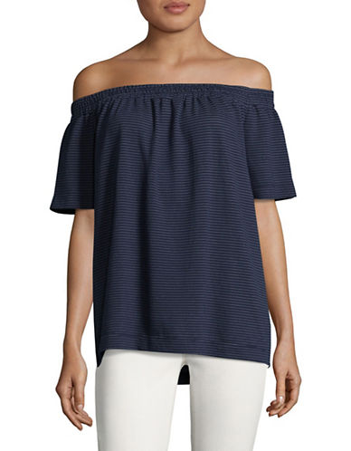 Two By Vince Camuto Stripe Jersey Off-the-Shoulder Top-BLUE-Large