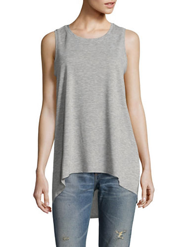 Two By Vince Camuto Mini Stripe Jersey Tank Top-GREY-Small 89335359_GREY_Small