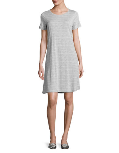 Two By Vince Camuto Striped Swing T-Shirt Dress-GREY-Small