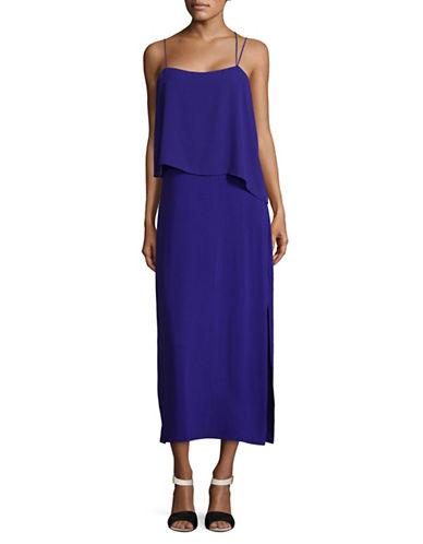 Vince Camuto Asymmetric Woven Overlay Maxi Tank Dress-BLUE-Large