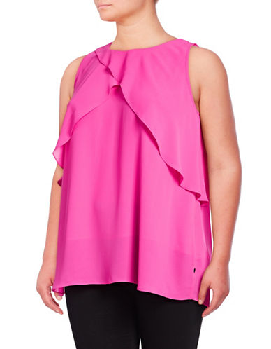 Vince Camuto Plus Plus Ruffled Cold Shoulder Top-PINK-1X