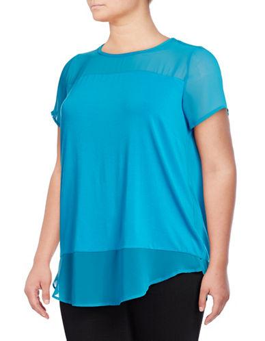 Vince Camuto Plus Plus Mixed Media T-Shirt-BLUE-1X