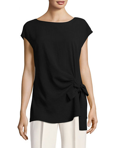Vince Camuto Mix-Media Tie Blouse-BLACK-X-Small