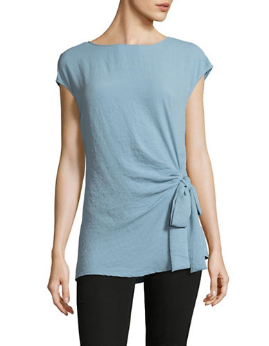 Vince Camuto Mix-Media Tie Blouse-BLUE-X-Small
