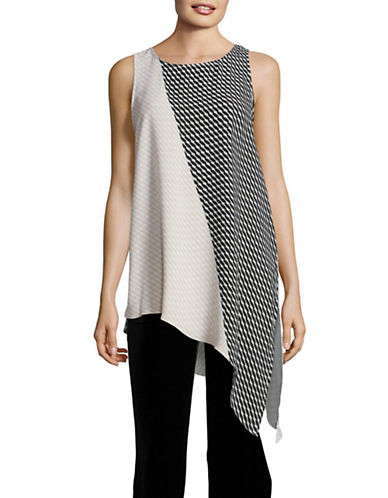 Vince Camuto Printed Asymmetric Top-BLACK MULTI-Small