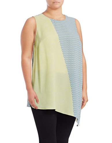 Vince Camuto Plus Modern Slant Asymmetrical Shell Top-GREEN MULTI-3X