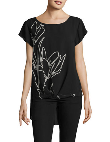 Vince Camuto Hi-Lo Woven Top-BLACK-Small