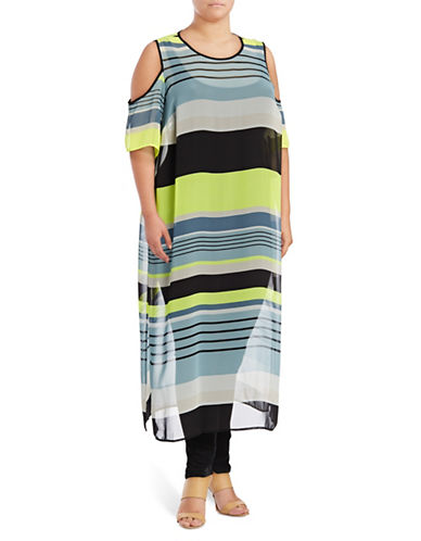 Vince Camuto Plus Plus Striped Cold-Shoulder Tunic-AQUA MULTI-1X