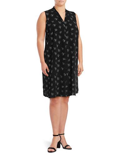 Vince Camuto Plus Plus Fluent Flowers Inverted Pleat Dress-BLACK MULTI-1X