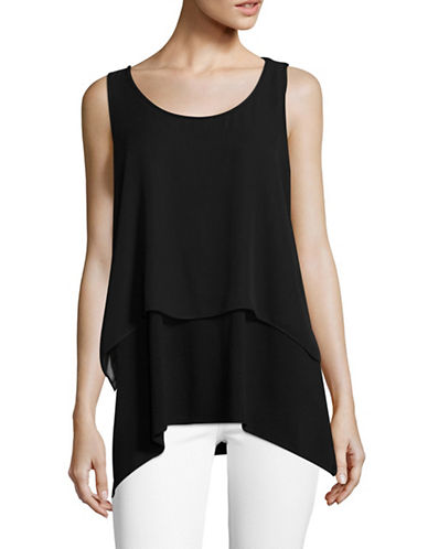 Vince Camuto Sharkbite Layered Tank-BLACK-Large 89403573_BLACK_Large