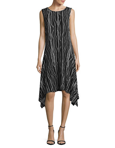 Vince Camuto Electric Lines Sharkbite Trapeze Dress-BLACK-X-Small