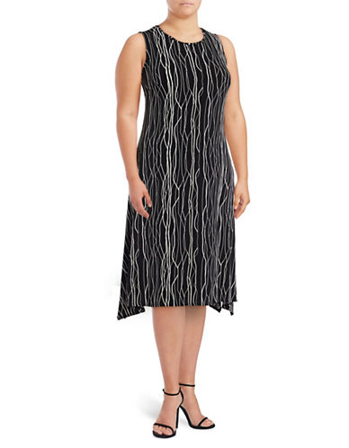 Vince Camuto Plus Plus Electric Lines Sharkbite Trapeze Dress-BLACK MULTI-1X