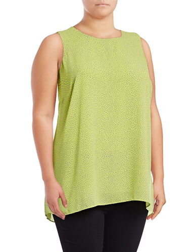Vince Camuto Plus Pebbles Printed Blouse-GREEN-1X