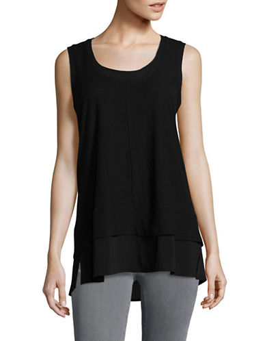 Two By Vince Camuto Mix Media V-neck Top-BLACK-Small