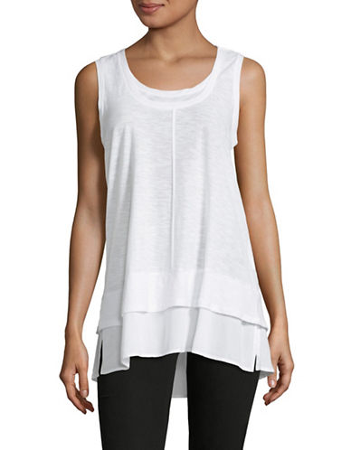Two By Vince Camuto Mix Media V-neck Top-WHITE-Small