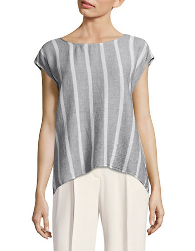 Two By Vince Camuto Striped Gauze Split-Back Top-MULTI-Small