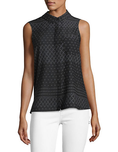 Two By Vince Camuto Printed Sleeveless Blouse-BLACK-X-Small