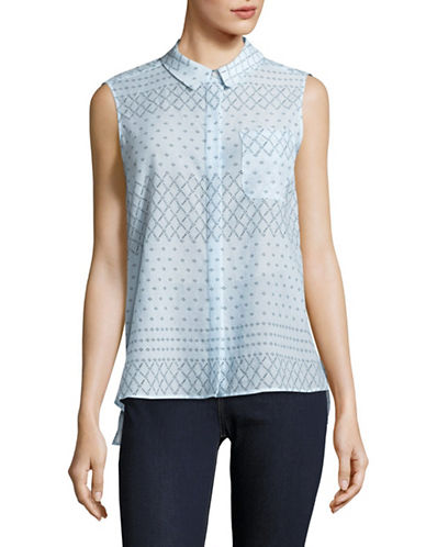 Two By Vince Camuto Printed Sleeveless Blouse-BLUE-Medium