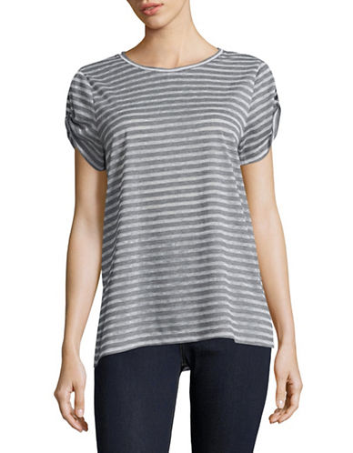 Two By Vince Camuto Keyhole Sleeve T-Shirt-GREY MULTI-Small
