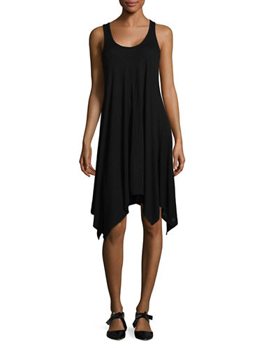 Two By Vince Camuto Jersey Handkerchief Hem Dress-BLACK-X-Small