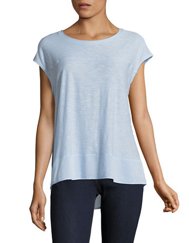 Two By Vince Camuto Mix Media Shirttail T-Shirt-BLUE-X-Small