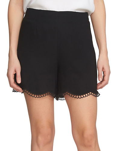 Cece Soft Crepe Scallop Embroidery Shorts-GREY-2