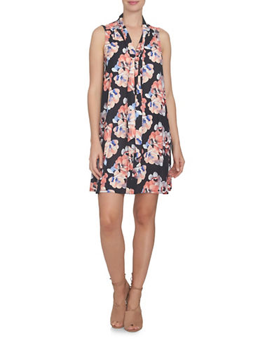 Cece Garden Blooms Tie Neck Swing Dress-GREY-2