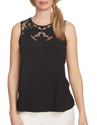 Cece Floral Cutout Knit Top-BLACK-Small