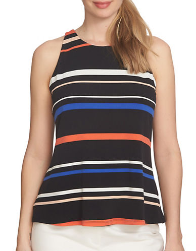 Cece Twist Back Playful Stripe Halter Top-BLACK MULTI-Small