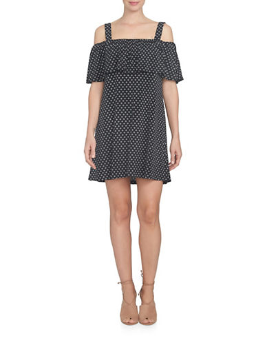 Cece Cold-Shoulder Stencil Foulard Swing Dress-BLACK MULTI-Small