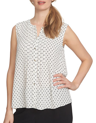Cece Stencil Foulard Pintuck Blouse-IVORY MULTI-X-Small