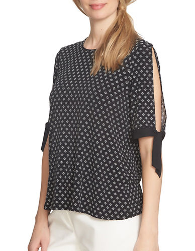 Cece Stencil Foulard Tie-Sleeve Top-BLACK MULTI-X-Small