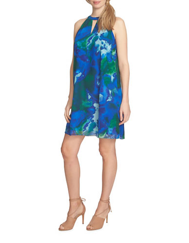 Cece Water Garden Keyhole Halter Dress-BLUE-2