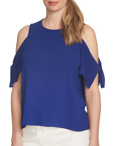 Cece Playa Del Sol Cold Shoulder Blouse-BLUE-Large