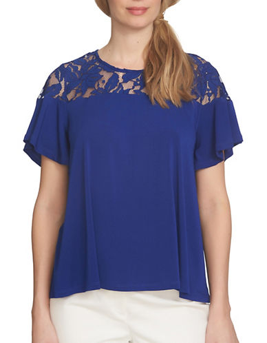 Cece Floral Lace Yoke T-Shirt-BLUE-Large