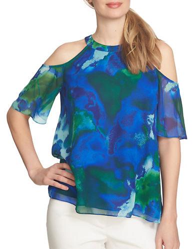 Cece Garden Cold Shoulder Swing Blouse-BLUE MULTI-X-Small