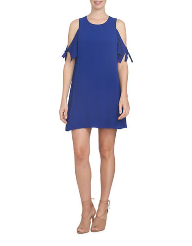 Cece Tie Sleeve Cold-Shoulder Dress-BLUE-2