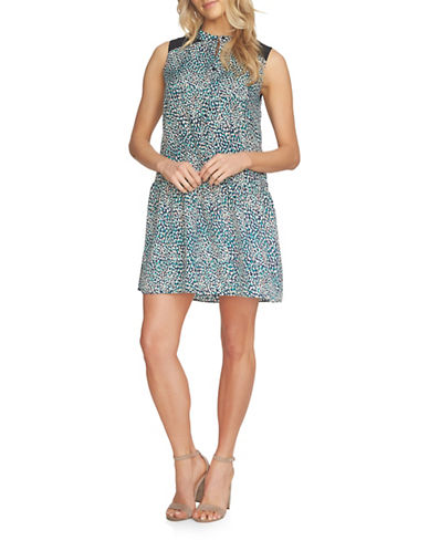 Cynthia Steffe Danielle Sleeveless Ditsy Drop-Waist Dress-BATIK BLUE-8