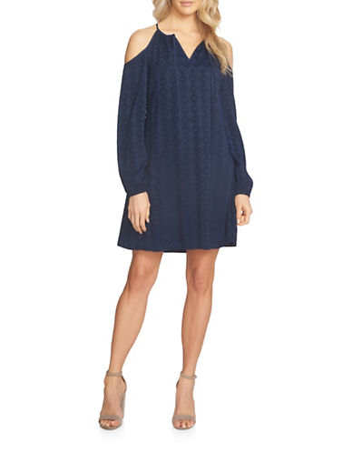 Cynthia Steffe Long Sleeve Cold Shoulder Dress-BATIK BLUE-0