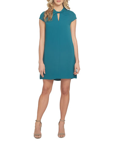Cynthia Steffe Twist Neck Shift Dress-GREEN-10